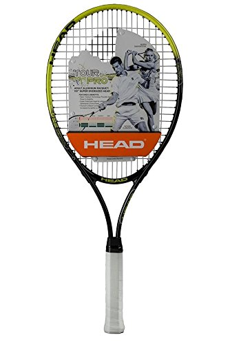 (HEAD Tour Pro Tennis Racket - Pre-Strung Head Light Balance 27 Inch Racquet - 4 1/4 In Grip, Yellow)