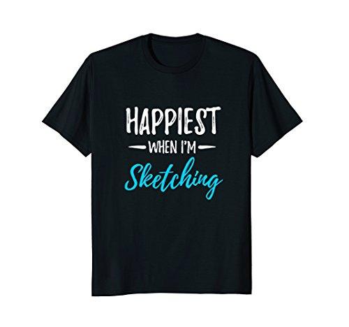 Mens Happiest When I'm Sketching T-Shirt Funny Artist Gift Idea Medium Black