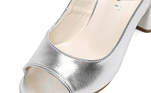 Sandales Chaussures Silver Toe Femmes épais à JAZS® Summer Mode Europe Talons New Élégant Sexy la Open Sweet Amérique Style Fashion pour Hauts et à PqgtSwFx