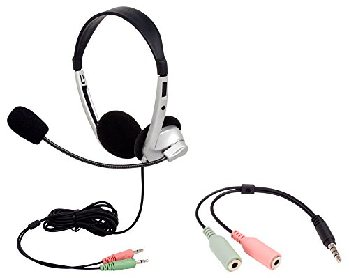 Egghead EGG-IAG-1007-1019-SO-PK Stereo School Headphones with Boom Microphone and Dual 3.5 mm Plugs and Bonus Adapter, Silver