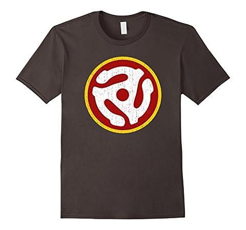 Mens 45 RPM ADAPTER T-Shirt | Vintage Vinyl Turntable Record Tee 2XL Asphalt - Records Vintage T-shirt