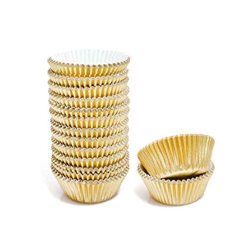 Mkustar 300 Count Foil Metallic Cupcake Liners Mini Baking Paper Cups Gold -