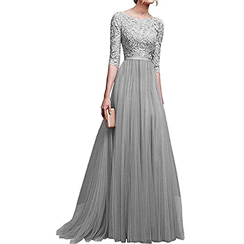 (Women's Vintage Floral Lace 3/4 Sleeves Floor Length Retro Evening Cocktail Formal Bridesmaid Gown Long Maxi Dress (Grey, M))
