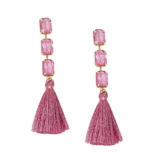 (Rhinestone Crystal Bohemian LongTassel Dangle Earrings Drop Tiered Thread Statement Earrings Women Girls Chandelier Filigree Charm Ethnic Fringe Statement Tribal Soriee Fashion Lady Earring)