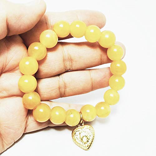 Heavens Tvcz Jade Beads Bracelet Bangle Yellow Honey Stretch Burma with Sarika Bird Couple Heart Lucky Prosperity Luck Success Promote Love Wealth in Life for Luxurious Quality from Heavens Tvcz