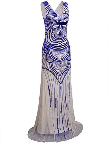 Vijiv Women Sparkly Formal Evening Prom Ball Gown Sequin Glitter Mermaid Long Dress Beige Blue Large