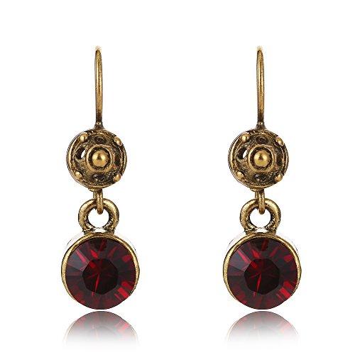 Topaz Garnet & Earrings Pink (Tom+Alice Hand-made Antique Style 8mm Imported Garnet Crystal Dangle Earrings for Women Eco-Copper Ear Hook)