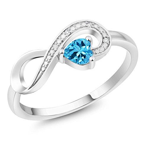 10K White Gold 0.33 Ct Heart Shape Swiss Blue Topaz Diamond Infinity Ring (Size 5) ()