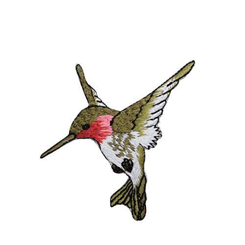 (Large - Hummingbird - Facing Left - Ruby Red Throat - Iron on Embroidered Applique Patch )