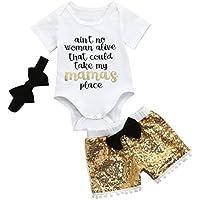 Efaster Infant Baby Girls Letter Print Romper+Sequin Bow Shorts+Headband Set