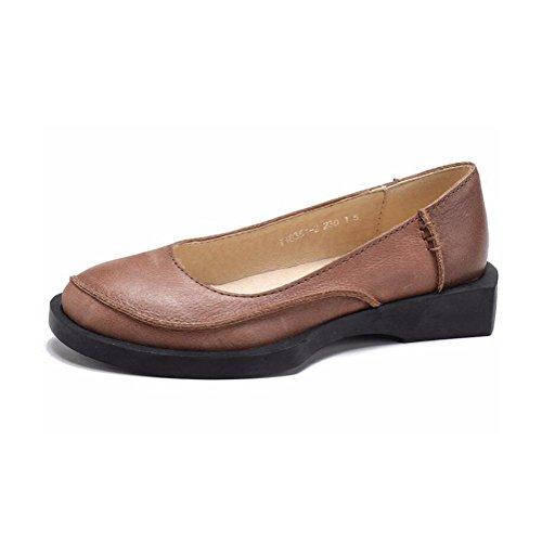 Pied YWNC Cuir Tête Chaussures Véritable De Vache Cuir Sur Nouveau Bureau Femmes Dames Faible khaki Ronde De Le Simple 2018 Chaussures rvqwrHEU4