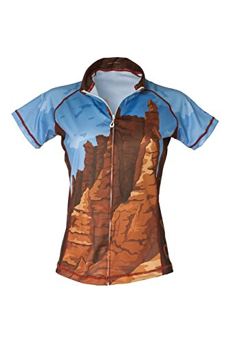 Bold Babe Women's Sun Protective Short Sleeve Cycling Jersey - SPF Clothing Perfect for Enjoying The Outdoors - Bryce Canyon (Small) ()
