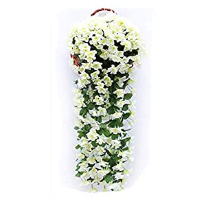 Fake Flowers Trailing Artificial Wisteria Vine Hanging Plant Garden Home Wall Balcony Outdoor Wedding Decoration Wall Hanging Pendant,White 20