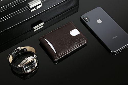 d47ebcce7db SERMAN BRANDS RFID Blocking Slim Bifold Genuine Leather Minimalist Front  Pocket Wallets for Men with Money Clip