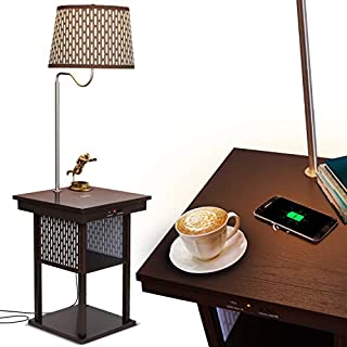 Brightech Madison w. Wireless Charging Station & USB port - Narrow Nightstand in Mid Century Modern Style with Built In LED Lamp - End Table & Attached Reading Light for Living Rooms - Havana Brown