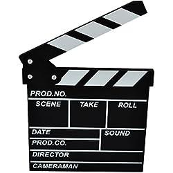 Yamix Clapboard, Wooden Clapboard Director Film Movie Cut Action Scene Slateboard Clapper Board Slate - Black S