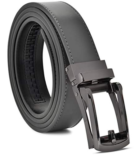 Men's Genuine Leather Ratchet Dress Belt Custom Fit, Automatic Buckle, No Hole (ADJUSTS TO FIT 28-44, Gray Strap With Black Buckle)