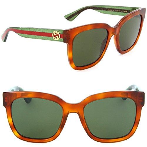 (Gucci GG 0034S 003 Havana Plastic Round Sunglasses Green Lens)