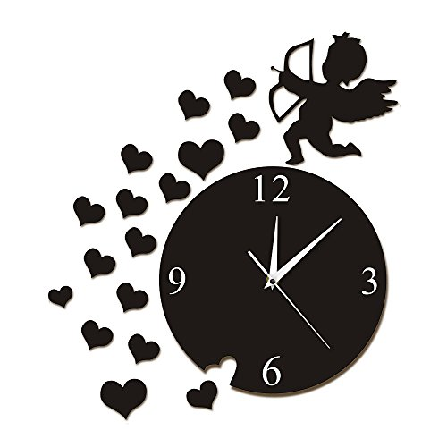 - xuyuandass Wall Clocks Cupid Arrow Hearts Cherub Angel Wall Art Home Decor Modern Flying Cupid Love Angel Decorative Wall Watch Gift Can Well Decorate Home Office Coffee Bar Hotel Restaurant