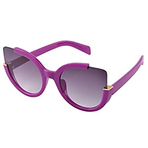 COASION Vintage Fashion Oversized Cat Eye Mirrored Sunglasses for Women (Grey Lens/Purple Frame, 57)
