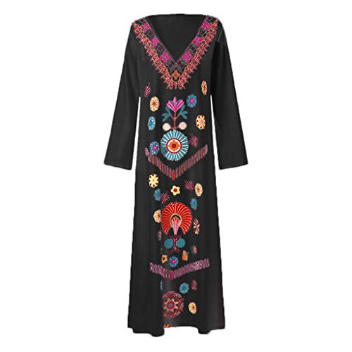 Tantisy ♣↭♣ Women's Long Sleeve V-Neck National Style Long Dress Casual Loose Vintage Autumn Summer Dashiki Dress Black ()