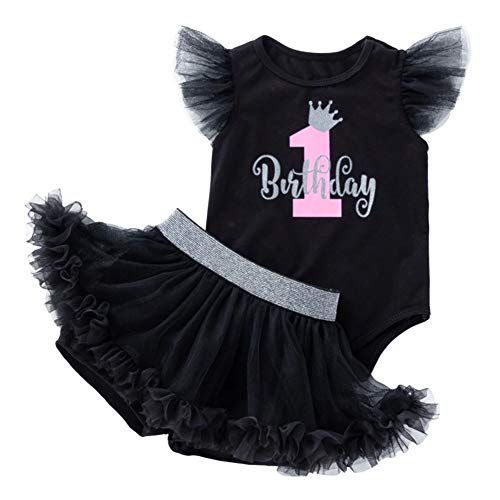 First Birthday Baby Girl Outfit one Romper Tutu Pantskirt Princess Cake Smash Photography Prop Casual Themed Party Celebration Costume Black 2PCS 6-12 Months]()