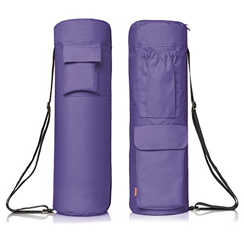 Yoga Mat Bag by NewK Yoga – Full Zip, Waterproof, Sling Bag with Expandable Pockets – Fits All Size Yoga Mats – Drawstring Bag and Sweat Wristband Included (purple)