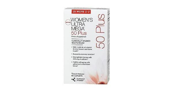 GNC WOMENs Ultra Mega 50 PLUS Multivitamins 60 Caplets by GNC: Amazon.es: Salud y cuidado personal