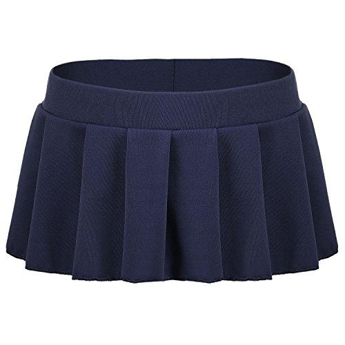 Avidlove Women Role Play Mini Plaid Skirt Polyester Schoolgirl Lingerie Dark Blue
