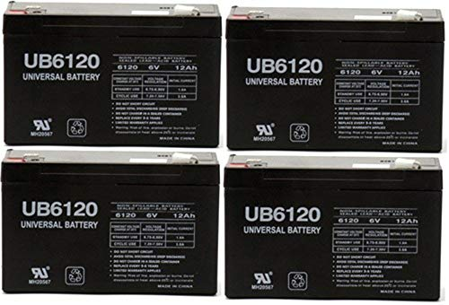 Universal Power Group 6VOLT 12AMP DEEP-CYCLE RECHARGEABLE SEALED ENERGY STORAGE BATTERY 12AH 6V - 4 Pack