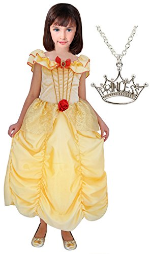 Belle Princess Dress with Wondercharms Necklace - LARGE (5-7)