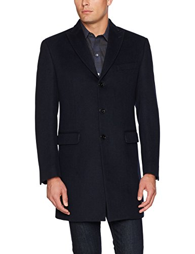 Tallia Men's Versailels Herrring Bone Three Button Peak Lapel Wool Blend Coat, Navy, L by Tallia Orange