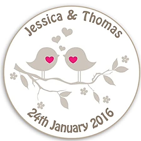 Round personalised party bag labels stickers wedding engagement neutral lovebirds 35 x 37mm