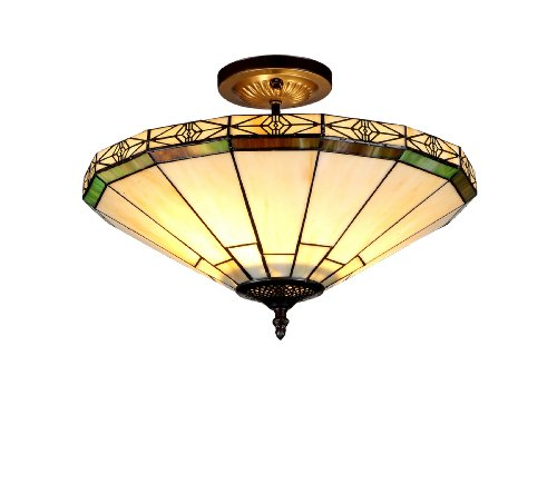 Lighting Belle 2-Light Tiffany Style Mission Semi Flush Ceiling Fixture with 16 in. Shade (Mission Bronze Ceiling Fixture)