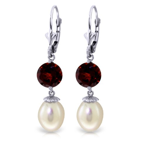 14K Solid Gold Leverback Earrings with Pearls and Garnets
