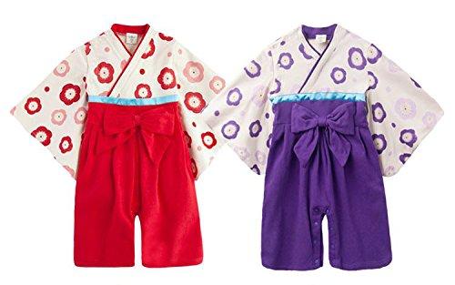 77f702e131136 NEWSTORY 記念日 に 和装 で おめかし 袴 ロンパース ベビー キッズ 用 (01. 赤