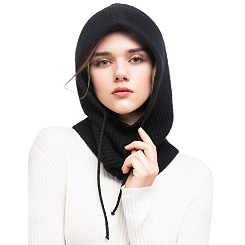 Fincati Hooded Scarf Women Men 2018 100% Cashmere Casual Outdoor Hat Drawstring (black)