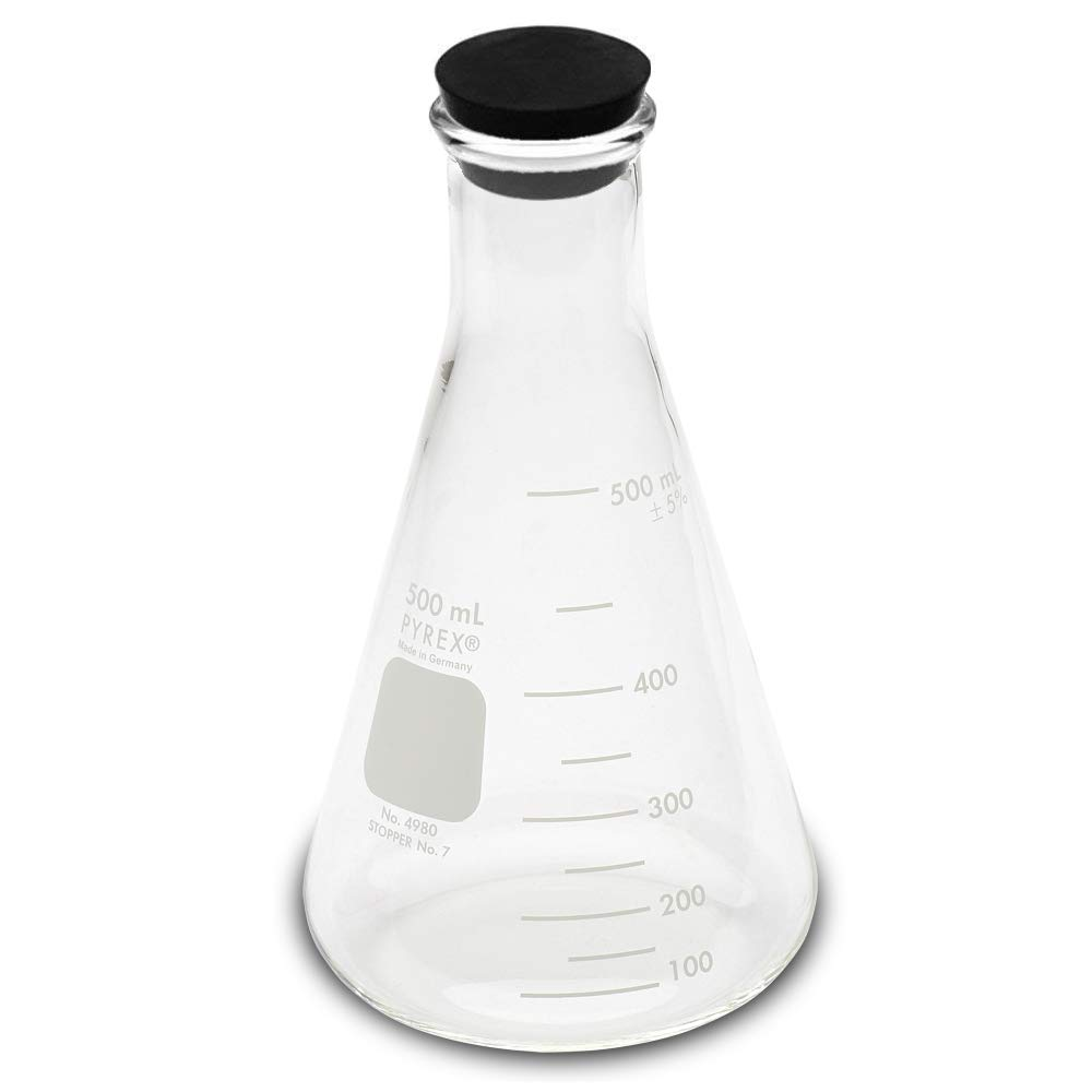 Single 500ml Erlenmeyer Flask with Rubber Stopper Corning Pyrex #4980-500