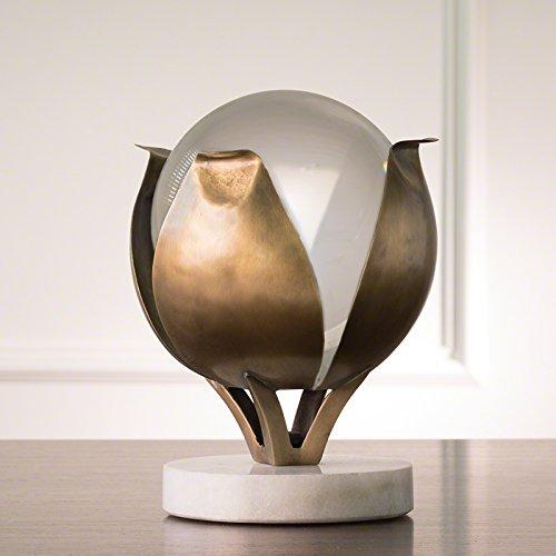Brass Flower Petal Sculpture Frosted Crystal Sphere | Williamsburg Gold (Williamsburg Petal)