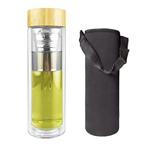 Tea Tumbler with Infuser Glass Bottle with Bamboo Lid | Fruit Infusion |14oz Clear Spill-proof Double-wall Glass Travel Mug Coffee Cool Bottle with Loose Leaf Strainer / Filter