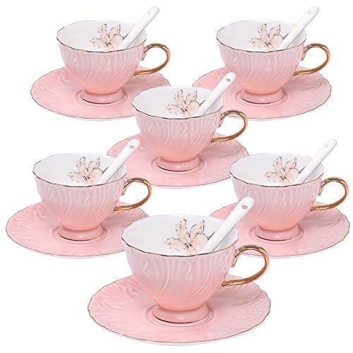 ufengke 4oz Coffee Cup Set,Small Capacity Porcelain Coffee Tea Sets,Set of 6 Ceramic Tea Cup and Saucer-Pink