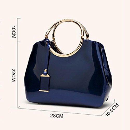 Version Travel Bright Leather aged Fashion Of Bag Simple New Korean 2018 Patent Bag Shopping Handbag Oblique Middle Ladies Female Bag Shoulder capacity Rosered The Large AFqxfwBX