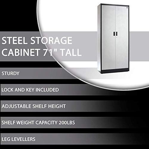 Steel Storage Cabinet 71'' Tall, Lockable Doors and Adjustable Shelves, (Choose Color) 70.86'' Tall x 31.5'' W x 15.75'' D, by Fedmax. (Black) by Fedmax (Image #6)