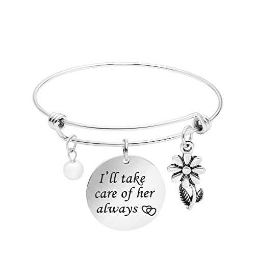 Yiyang Mother in Law Bracelet Bride Gift for Her I'll take care of her always Expandable Bangle - Care Take Ill