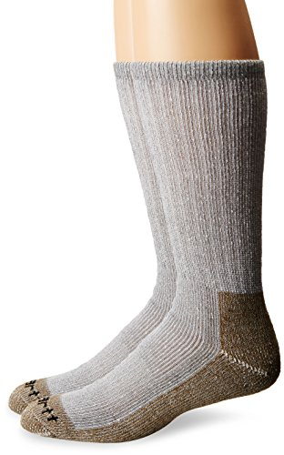 Carhartt Men's 2 Pack Full Cushion Steel-Toe Synthetic Work Boot Socks, Heather Grey, Shoe Size: 6-12
