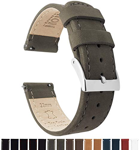 Barton Quick Release - Top Grain Leather Watch Band Strap - Choice of Width - 16mm, 18mm, 19mm, 20mm, 21mm 22mm, 23mm or 24mm - Espresso (Dark Brown) 22mm