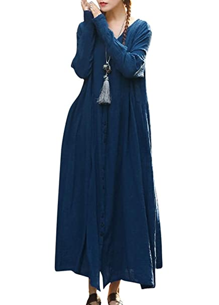 43fc0a34939a Romacci Vintage Women Casual Loose Long Dress Cotton V Neck Long Sleeves  Button Solid Boho Maxi Dress Blue Burgundy at Amazon Women s Clothing store