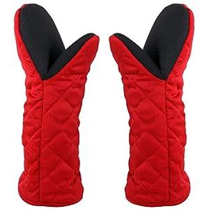 Guanto da Forno Doppio Lungo,Guanti da Cucina Antiscivolo Oven Gloves Resistenza al Calore 500°F Gomma Cotone Morbido… 2 spesavip
