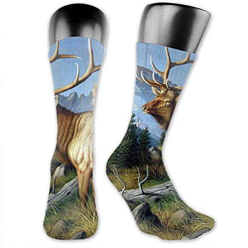 (Unisex Performance Cushion Crew Socks Tube Socks Wild Deer With Long Horn New Middle High Socks Sport Gym)