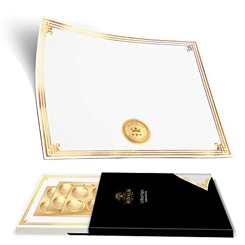 - Award Certificate Papers 8.5 x 11 & Gold Seals - 100 Blank Heavy White Paper Sheets with Metallic Gold Foil Border. Laser and Inkjet Compatible - for Achievements & Diplomas